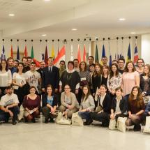 A kórus az európai parlament épületében